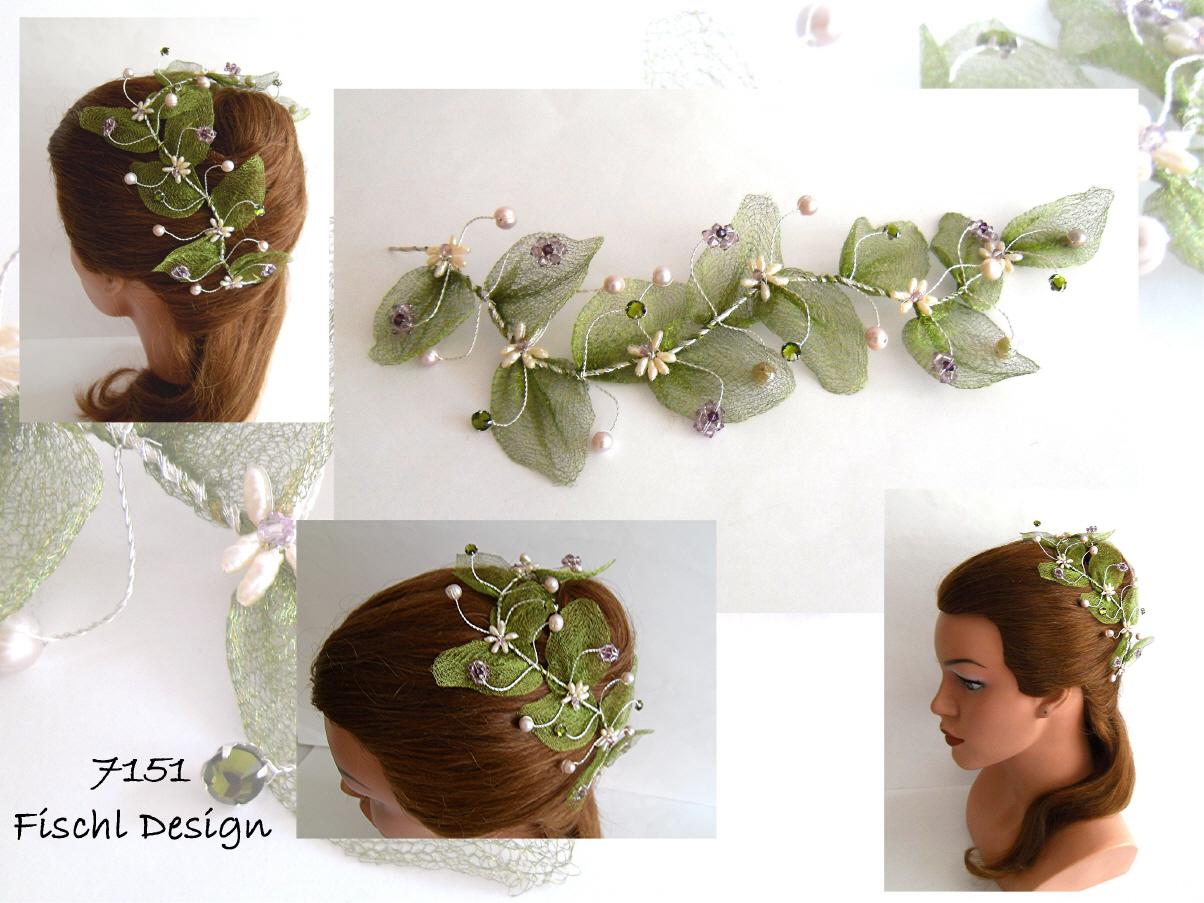 7151 Hochzeit Haarschmuck Blumenranke Grun Lila