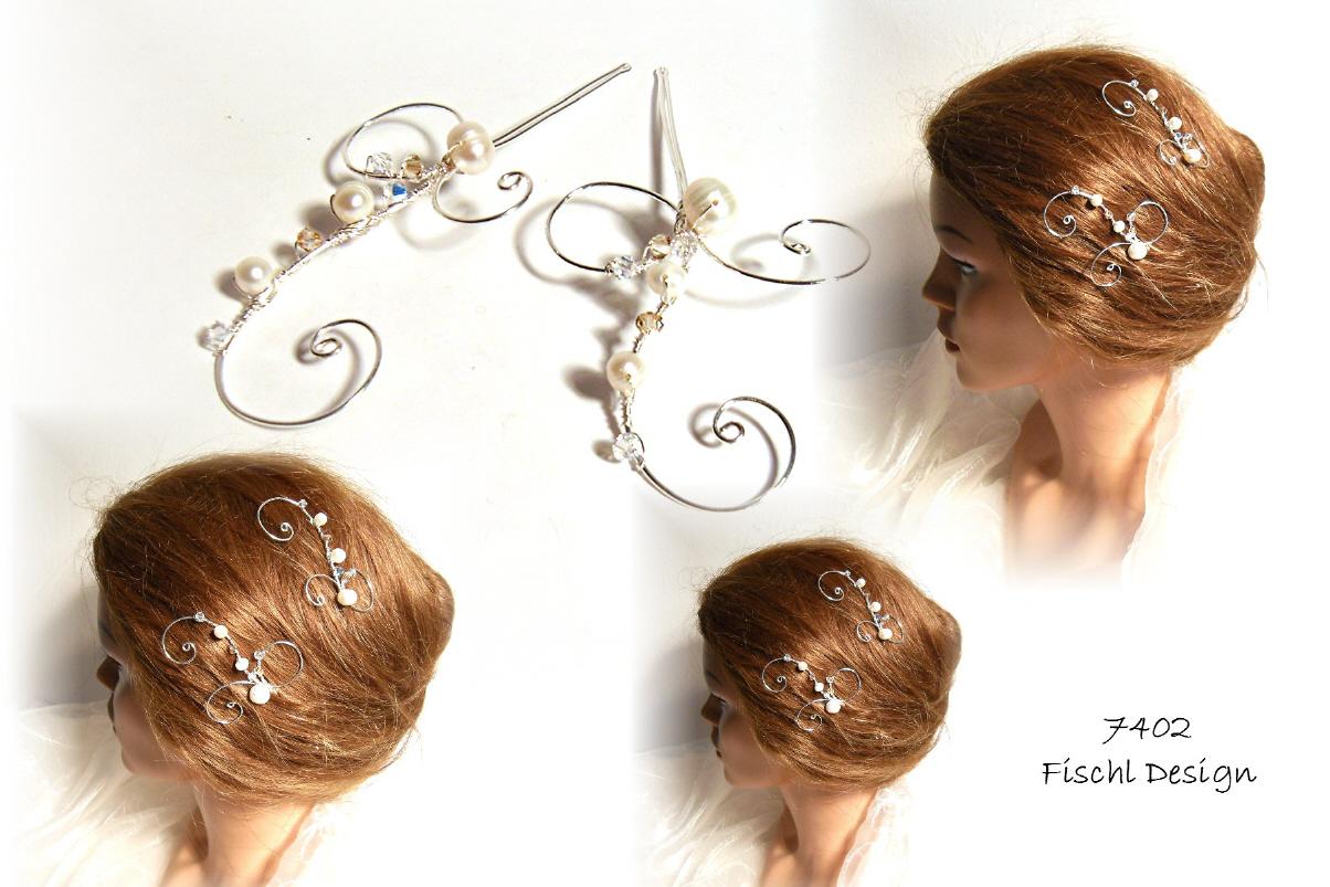 7402 Braut Haarnadeln Perlen Draht Ivory Weiss