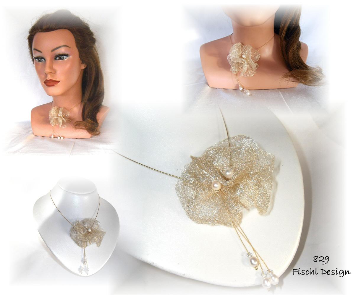 Ivory Halskette 829 Edel Gold Blüten Brautschmuck kOTPiuXZ